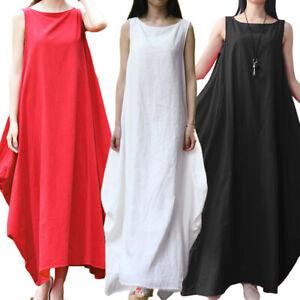 Details about Womens Cotton Linen Sleeveless Long Maxi Dresses Plus Size  Casual Dress E1H2