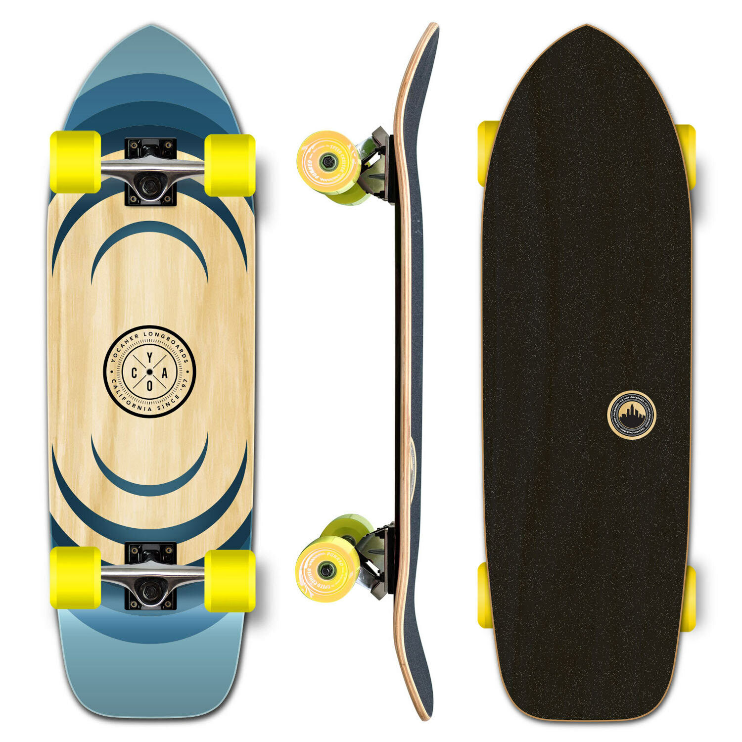 YOCAHER Old School Longboard Complete - Earth Series - Ripple (GCOS123)