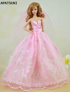 Pink-Pretty-Wedding-Dress-For-Barbie-Dolls-Clothes-Party-Gown-Veil-Lace-Vestido