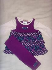 NEW Juicy Couture Infant/Baby Girl 2pc ruffled dress set with purple leggin 3-6M