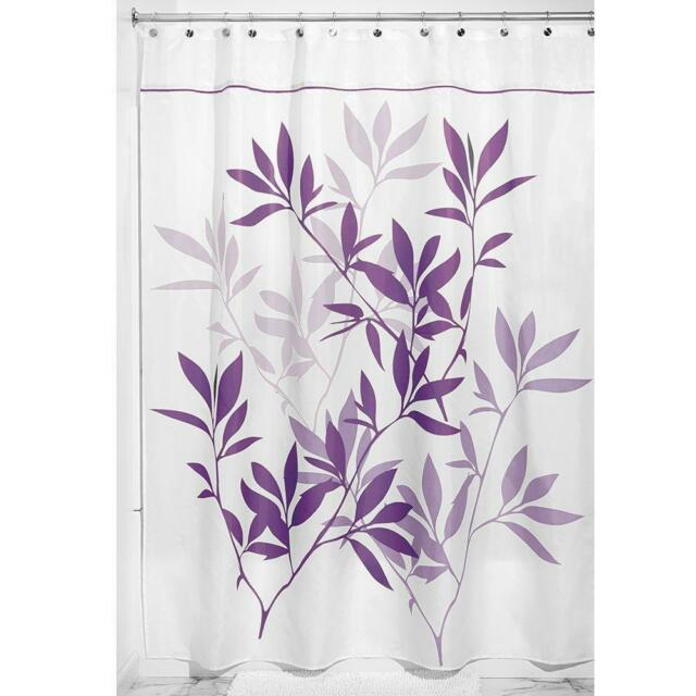 InterDesign Leaves Fabric Shower Curtain Long 72in By 84in Purple