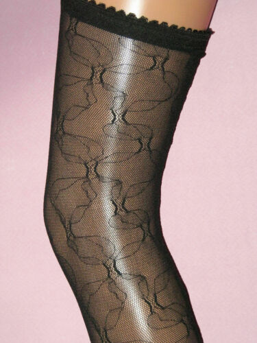 Vintage stockings with lace elasticated tops Black Lace Hold Ups Seamed