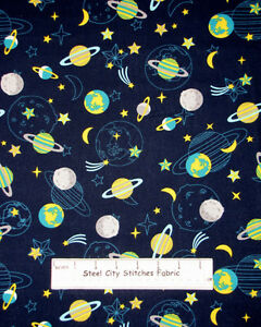 Atomic bots collection planet stars solar system space for Space fabric by the yard