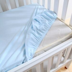 2 x 100 % Cotton Soft Cot Fitted Sheets 120 x 60 cm - Blue