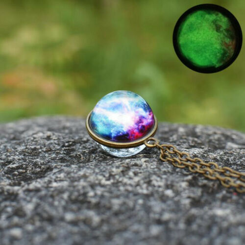 Galaxy Double Sided Pendant Necklace Universe Planet Handmade glass Ball Jewelry
