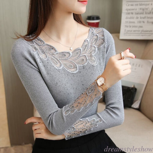 Chic Women Stretch Lace Patchwork Embroidered Slim Knit Top Sweater Basic Blouse