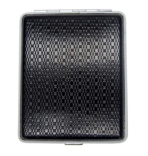 Black Faux Leather Cigarrete Case tin box holder smoker smoking present