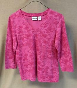 Chico-039-s-Bright-Pink-on-Pink-Floral-Print-V-Neck-3-4-Sleeve-Top-EUC-Size-0-d
