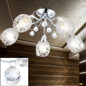 Chrom Design Decken Lampe Glas-Kristalle Beleuchtung Leuchte Wohn Schlaf Zimmer