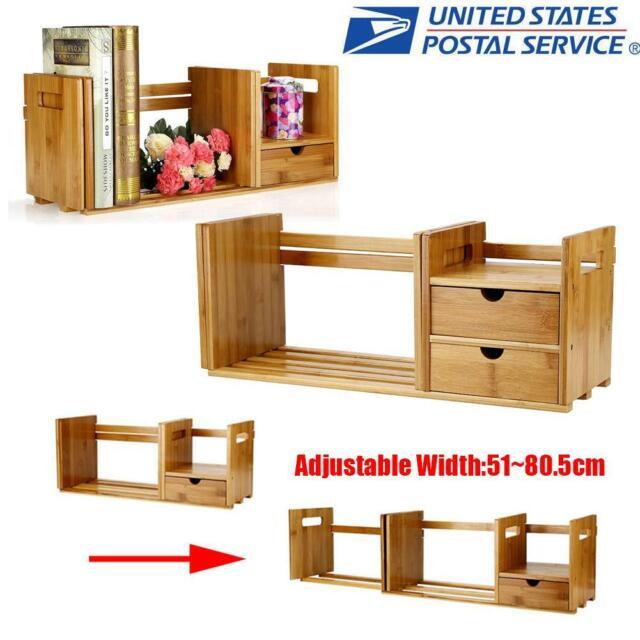 Extendable Wood Desktop Book Shelf Rack Storage Organizer Office Home Bookcase