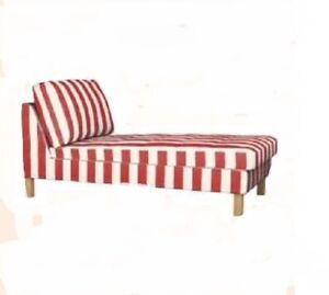 Genuine-Ikea-Karlstad-Cover-Add-on-Chaise-Longue-Rannebo-Red-White-401-582-96
