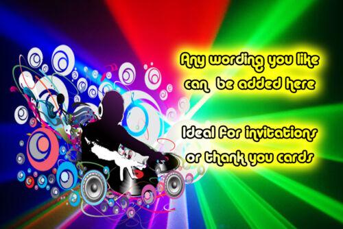 envelope Birthday party invitations bright disco club Neon DJ Personalised A6