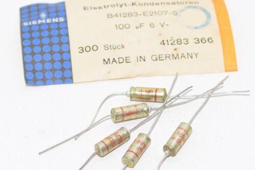 100 µF//6 V hifi 5x Vintage Elko-Condensateur Siemens Halske type b41283 NOS