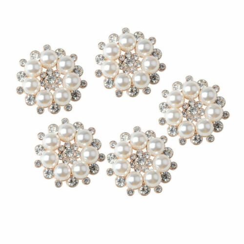 5pcs Button Crystal Flower Embellishments Faux Rhinestone Pearl Flatback