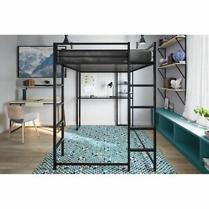 Details about Metal Loft Bed Over Workstation Desk Kids Bunk Ladder Dorm  Full Size Black New