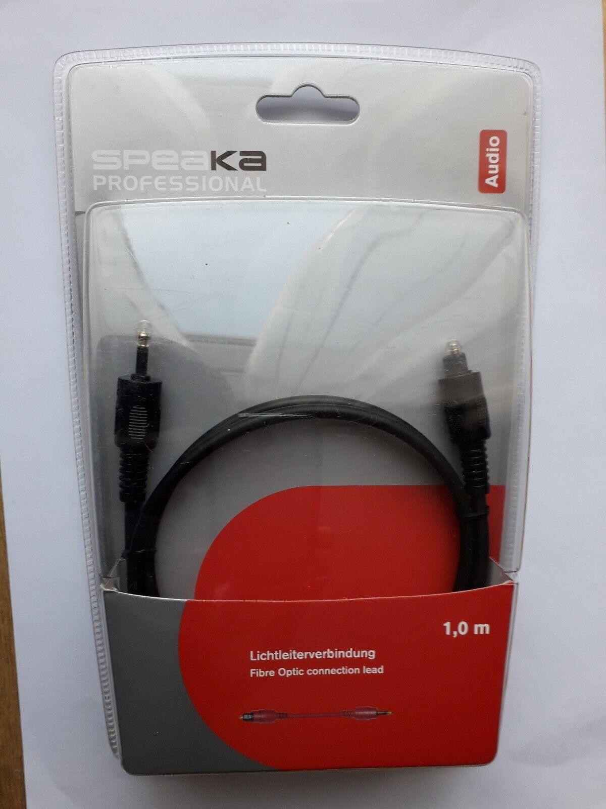 AUDIO FIBRE Optic connector Leads (1Metre) CD/DAT/DVD to CD/DAT/DVD-Black.Speaka