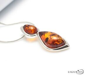 NATURAL-BALTIC-AMBER-Jewellery-Gemstone-STERLING-SILVER-925-PENDANT-NECKLACE
