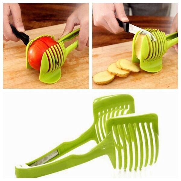 Tomato Potato Cutter Tool Slicer Clip Holder Fruit Lemon Vegetable Cutting SI