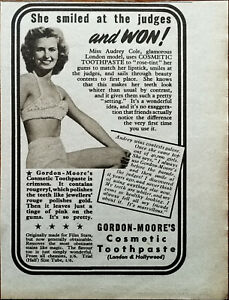 Gordon-Moore's Cosmetic Toothpaste She Smiled At the Judges and Won! Advert 1950