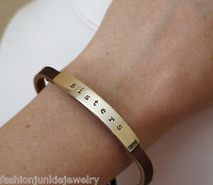 Sisters-Bracelet-Adjustable-Leather-Strap-Sisters-Friends-Love-Family-NEW