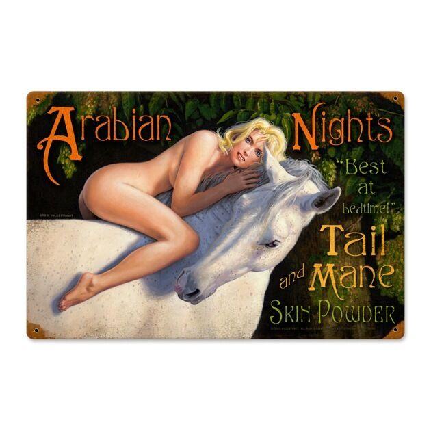 Arabian Nights Vintage Metal Sign Sexy PinUp Girl Horse 18 X 12 Steel Not Tin