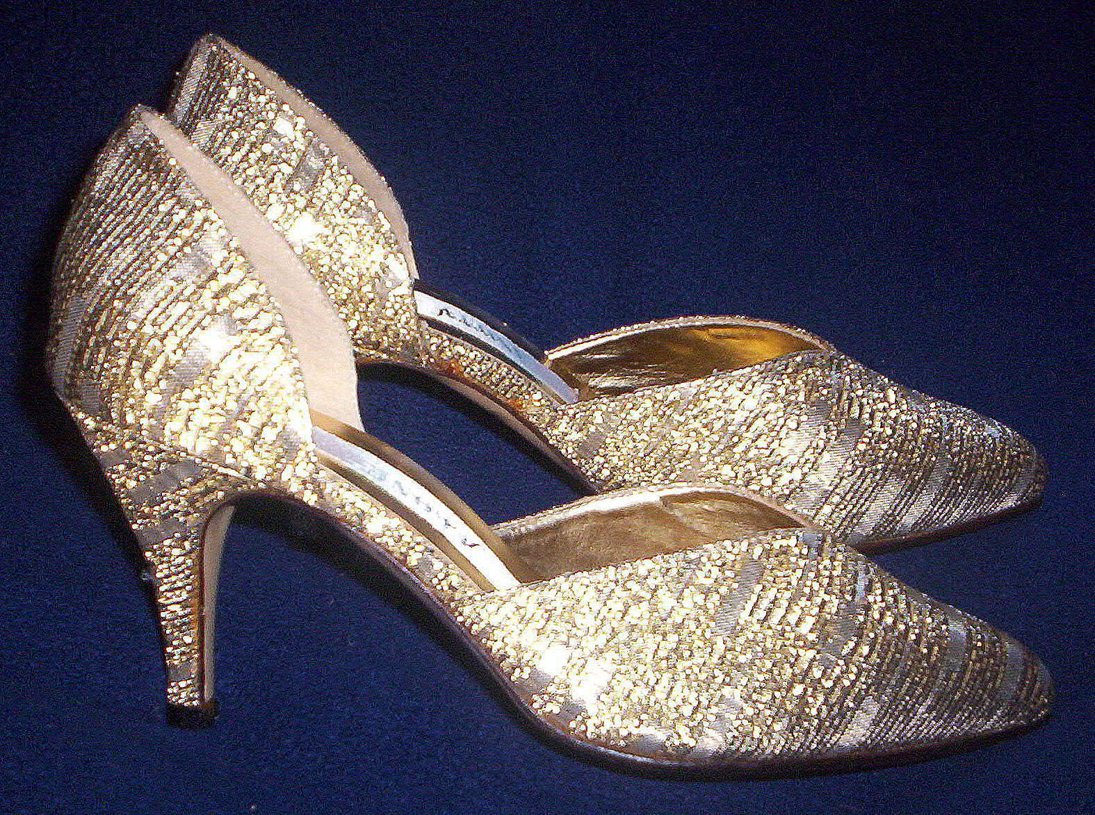 FREDERICO LEONE LEONE LEONE LADIES gold BRIDAL FORMAL PUMPS SHOES size 5 ½  NEW IN THE BOX d58a72
