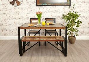 Peachy Details About Agra Reclaimed Wood Furniture Dining Table Two Chairs And Bench Set Gmtry Best Dining Table And Chair Ideas Images Gmtryco