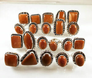 5 Pcs Wholesale Lot Goldstone Sunstone 925 Sterling Solid Silver Rings BR-19