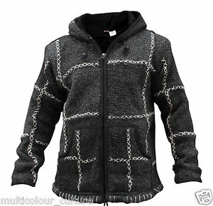 Men-039-s-Super-warm-fleece-lined-winter-warmer-100-wool-Hand-knitted-cozy-jacket