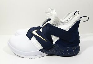 3000567555a2 Nike Lebron Soldier XII SFG Mens Basketball Shoes White Navy Size ...