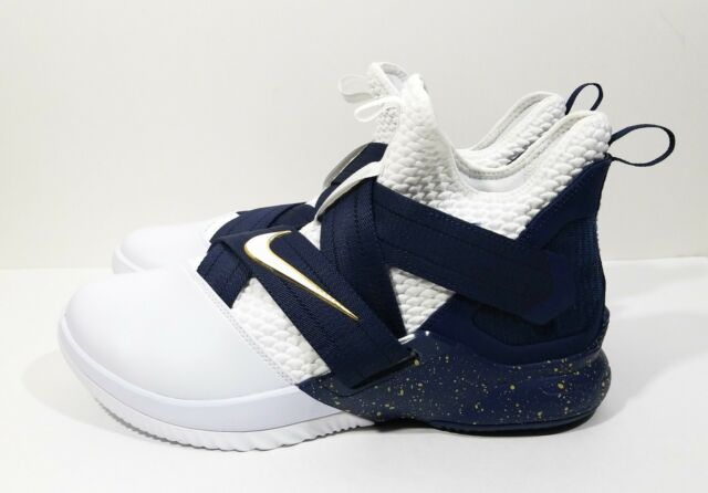 ebfcb24fecf Nike Lebron Soldier XII SFG Mens Basketball Shoes White Navy Size 11.5