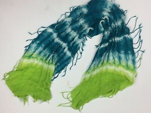 TIE-DYE-Fringed-SCARF-TEAL-Lime-Head-Wrap-Stretchy-Rectangular-16x60-Target
