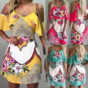 Vintage-Boho-Women-039-s-Evening-Party-Skirt-Summer-Beach-Floral-Sundress-Mini-Dress