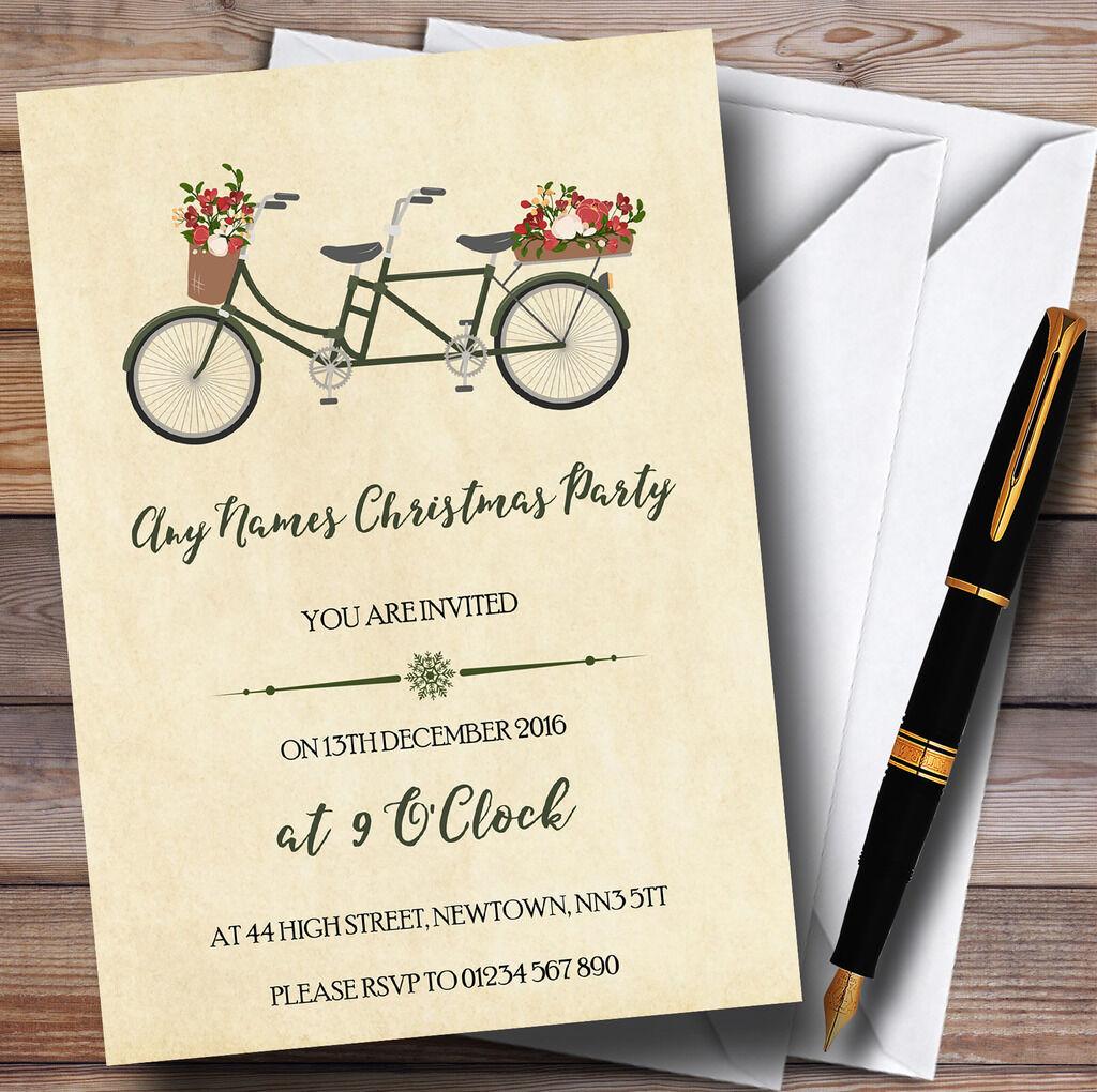 Pretty vintage vélo personnalisé noël noël personnalisé party invitations 3b3944