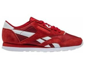 Reebok-Classic-Nylon-PN-Power-Red-White-BS9802-Mens-Trainers-Sneakers