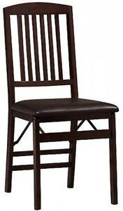 Kitchen Dining Folding Chairs Wood Padded Seats Set Of 2
