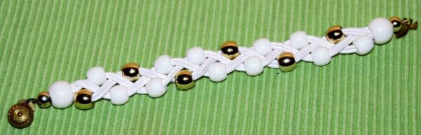 Armband - Weiß Und Silberfarben - L 20 Cm Mit Traditionellen Methoden