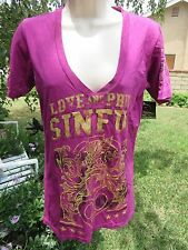 SINFUL By Affliction Tee Shirt LARGE Purple Magenta Glitter Love and Pride Shirt