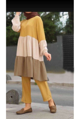 Women Long Sleeve Blouse Pants Two Piece Set Muslim Abaya Dress Jilbab Kaftan