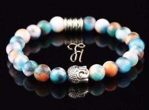Jade-blau-bunt-Armband-Bracelet-Perlenarmband-Buddhakopf-silber-8mm