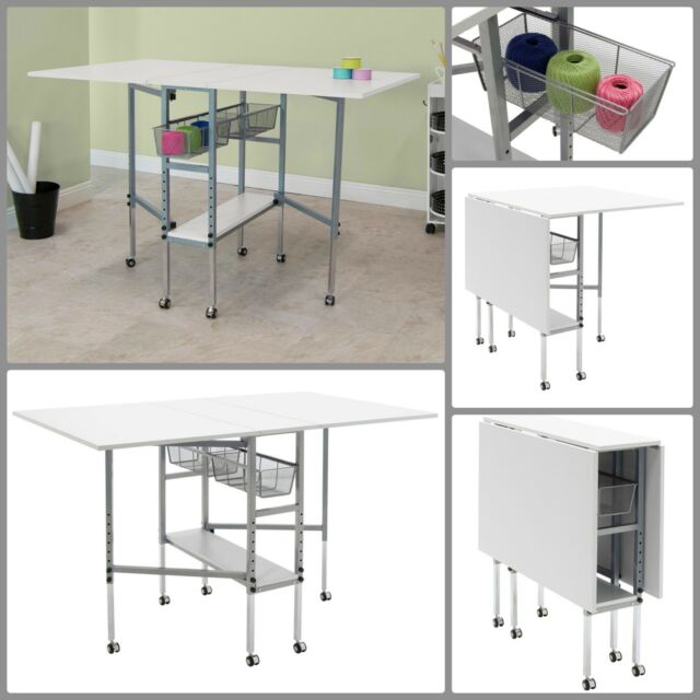 Sewing Table On Wheels.Craft Table With Storage Drawers Folding Sewing Machine Table White Accessories