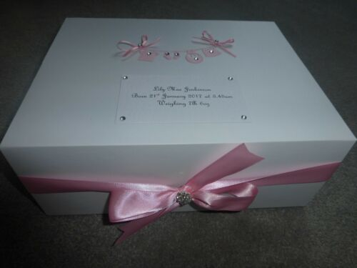 Personalised baby keepsake box pink Memory Box Christening Gift Daughter Blue **