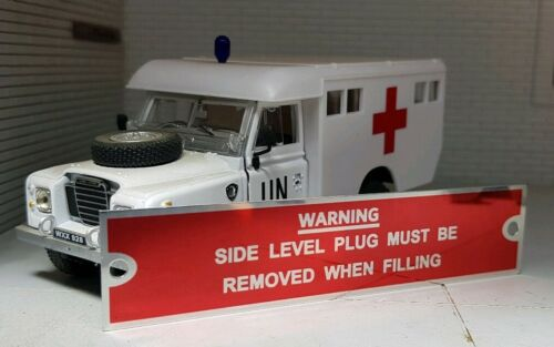 Gearbox Level Plug Oil Warning Information Plate Plaque Land Rover Series 1 2 2a