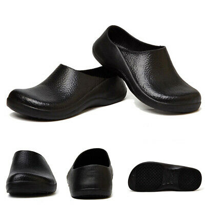 Men Chef Shoes Comfy Casual Clogs Kitchen Nonslip Shoes Safety Black Work Shoes