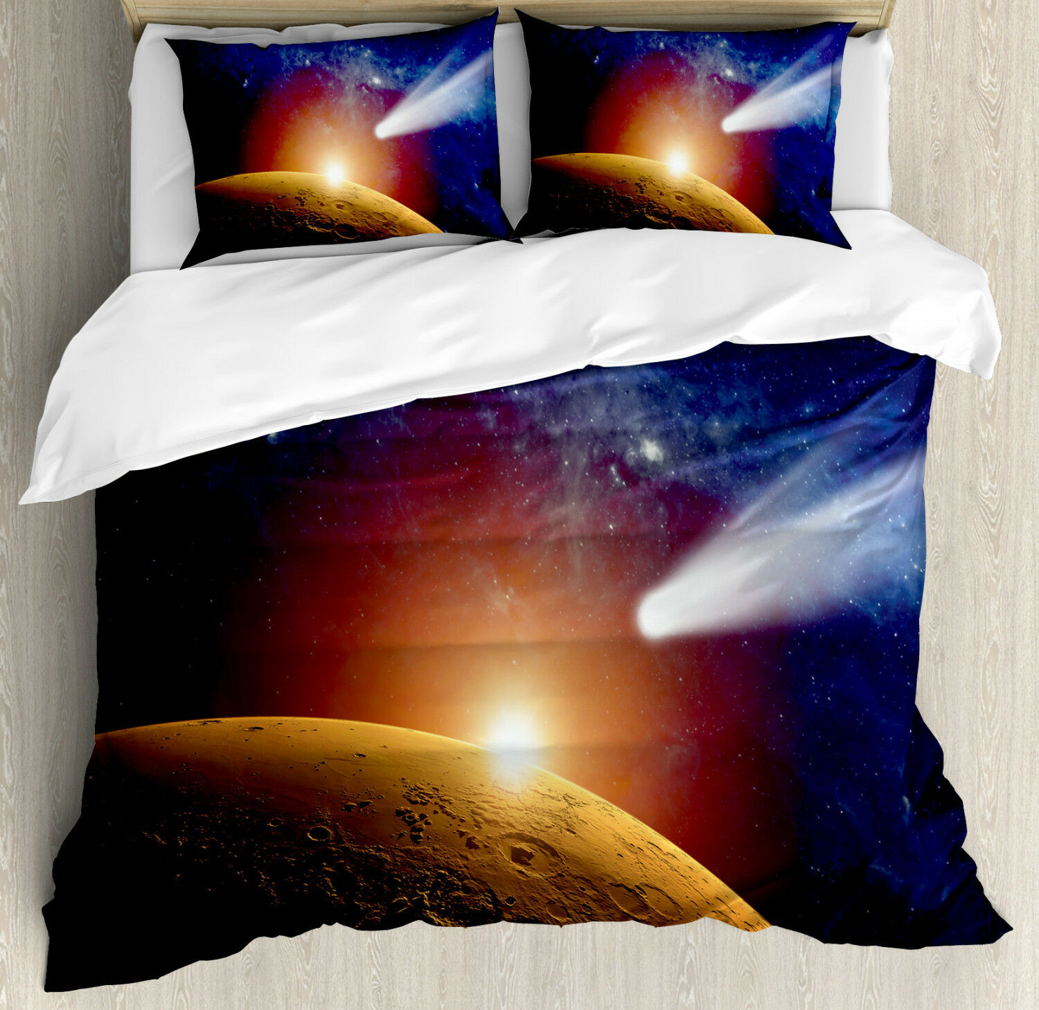 Outer Space Duvet Cover Set with Pillow Shams Dark Solar Scenery Print