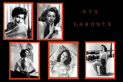 Movie Star Ava Gardner photo collage poster print 24x36 in.