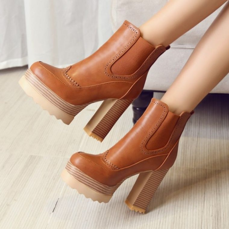 Womens ankle boots block heel high high high platform pull on shoes oxfords British Retro d09c2a