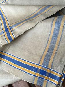 Rein-Leinen-Mangel-Rolltuch-Webkante-blau-gelb-weiss-Antique-Linen-Mangelcloth