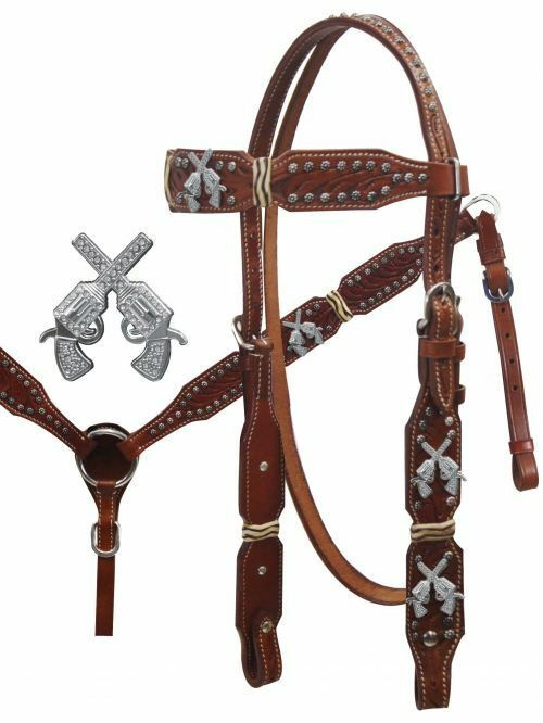 Showman   Crossed Guns Headstall and Breast Collar Set