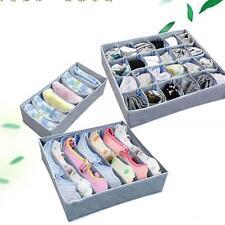 3x Panty Underwear Bra Socks Ties Closet Charcoal Zip Organizer Storage Box Grid